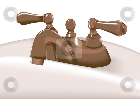 Bronze faucet vector illustration stock vector clipart, Bronze faucet on sink vector illustratin. by John Teeter