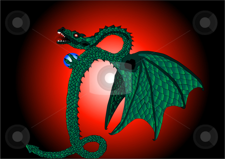 Dragon Serpent Illustration stock vector clipart, Dragon Serpent Vector Illustration by John Teeter