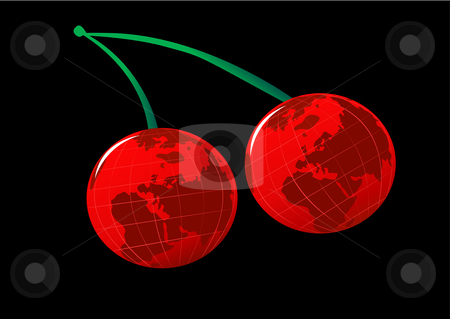 Earth Cherries Illustration stock vector clipart, Earth Cherries Vector Illustration by John Teeter