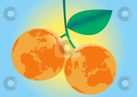 Earth Oranges Illustration stock vector clipart, Earth Oranges Vector Illustration by John Teeter
