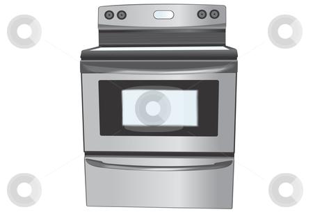 Stainless steel oven illustration stock vector clipart, Stainless steel oven illustration by John Teeter