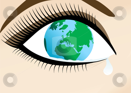 World in sad Womans eye stock vector clipart, Woman in Sad Womans Eye Vector Illustration by John Teeter
