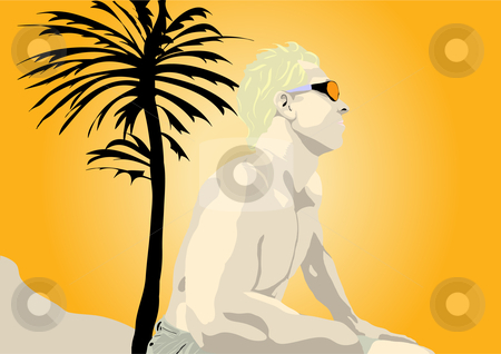 Man sitting in sun with palm tree illustration stock vector clipart, Man sitting in sun set with palm tree vector illustration by John Teeter