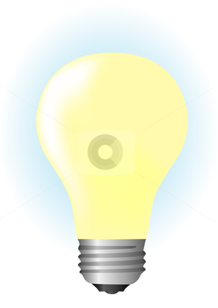 Light bulb on illustration stock vector clipart, Light bulb on illustration by John Teeter