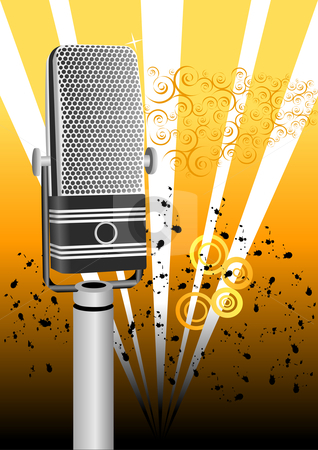 Grunge Microphone Illustration stock vector clipart, Grunge Microphone Vector Illustration by John Teeter
