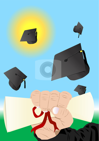 Graduation Illustration stock vector clipart, Graduation Vector Illustration by John Teeter