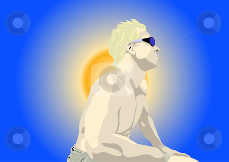 Man in sun illustration stock vector clipart, Man in sun vector illustration by John Teeter