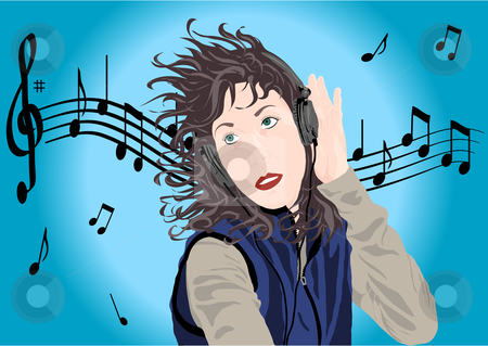 Woman listening to music illustration stock vector clipart, Woman listening to music vector illustration by John Teeter