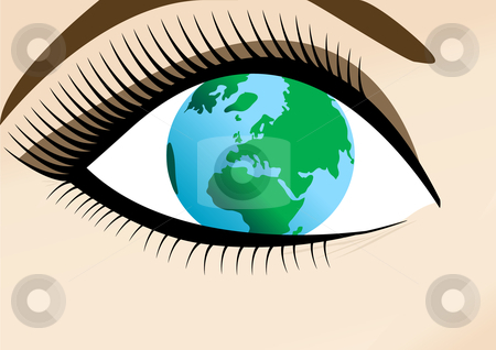 World in Womans Eye Illustration stock vector clipart, World in Womans Eye Vector Illustration by John Teeter