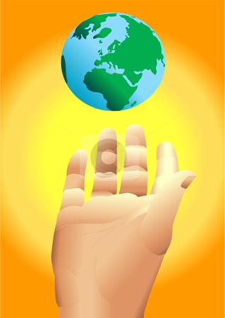 Hand levitating earth Vector stock vector clipart, Hand levitating earth vector illustration by John Teeter