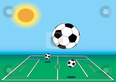 Soccer Ball on Field illustration stock vector clipart, Soccer Balls on field illustration by John Teeter