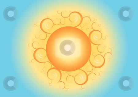 Orange sun with blue sky illustration stock vector clipart, Orange sun with blue sky vector illustration by John Teeter