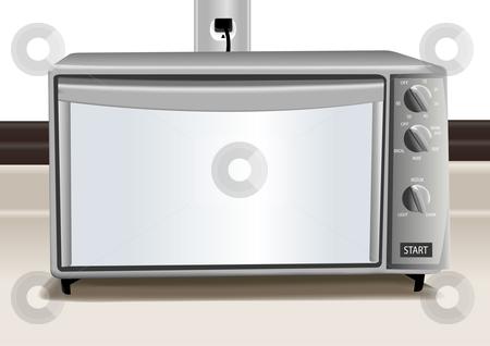Stainless steel toaster oven illustration stock vector clipart, Stainless steel toaster oven vector illustration by John Teeter