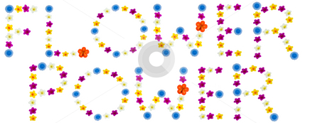Flower Power stock photo, The words flower power made of bright flowered candles, isolated on a white background by Richard Nelson
