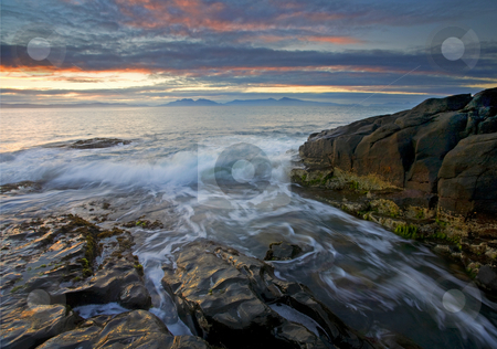 Freycinet Dawn stock photo, Dawn breaks over the Frecinet Peninsula with the tides rrising along the rocky coast of Tasmania by Mike Dawson