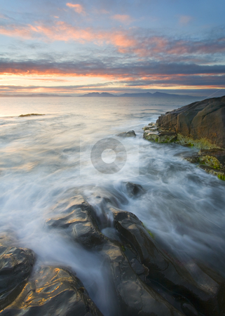 Freycinet Morning stock photo, Freycinet Pensinsula beneath the rising sun along the Eastern Shore of Tasmania by Mike Dawson