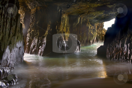 Remarkable Sea Cave stock photo, The inner confines of Remarkable Sea Cave on the Tasman Peninsula, Tasmania by Mike Dawson