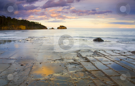 Sunset Grid stock photo, Tesselated Pavement reflecting the colors of the setting sun along the Tasman Peninsula, Tasmania, Australia. by Mike Dawson