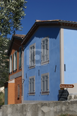 House of Provence stock photo, Colored house in the village of Castagnier by Serge VILLA