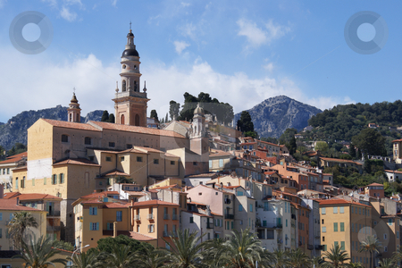 French Village stock photo, Old village of Menton in French Riviera. View from the sea side by Serge VILLA