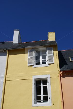 Colored house stock photo, Colored House in the Brittany village of Camaret by Serge VILLA