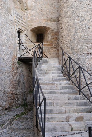 Stone Stairs stock photo, Old stone stairs in a fortress build par Vauban by Serge VILLA