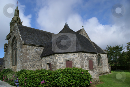 Gothic church stock photo, Gothic church in a small village of Brittany by Serge VILLA