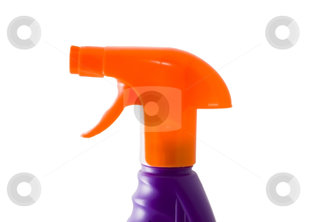 Sprayer stock photo, An orange plastic sprayer isolated on the white background by Petr Koudelka