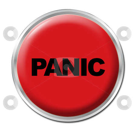 Panic Button stock photo, Red round button with the word Panic by Petr Koudelka