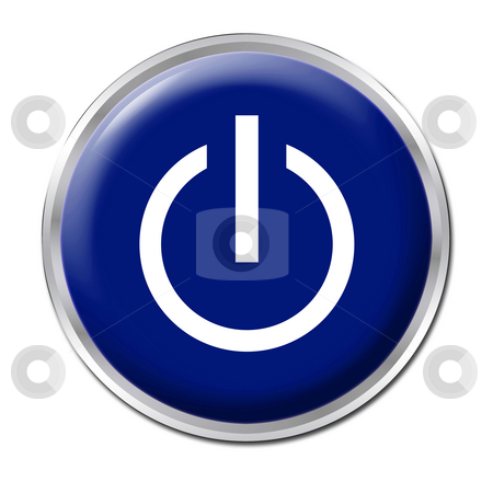 On/Off Button stock photo, Blue button with the symbol On/Off by Petr Koudelka