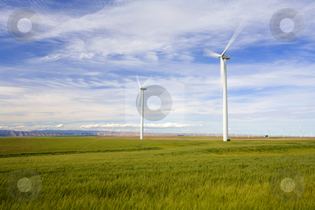 Wind farm stock photo, Windmills on the Plateau above the Columbia River in Oregon spinning in a brisk wind. by Mike Dawson