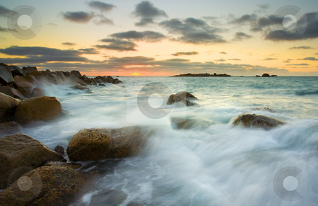Horseshe Sunrise stock photo, The sun rising over the waters of Horseshoe Bay on The Fleurieu Peninsula in South  Australia by Mike Dawson