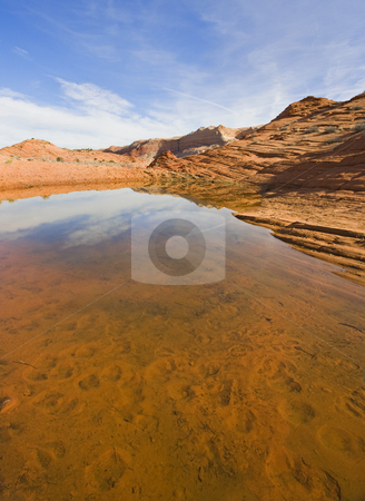 High Desert Oasis stock photo, A high desert pond in Coyote Buttes Wilderness Area in Arizona. by Mike Dawson