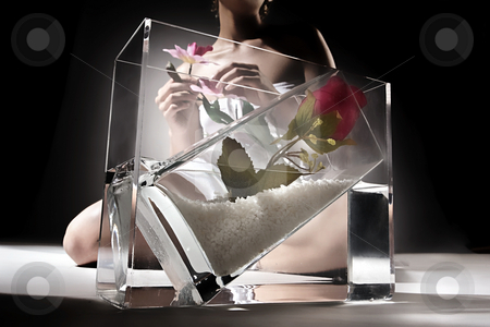 Through the glass stock photo, Model move through the glass by Luca Mosconi
