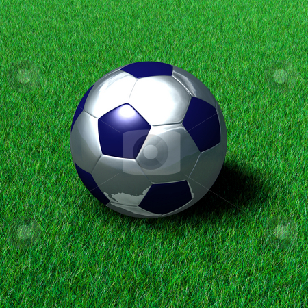 Metallic soccer ball on grass stock photo, Metallic soccer ball on a field of grass. Very high resolution render. by Dave Navarro