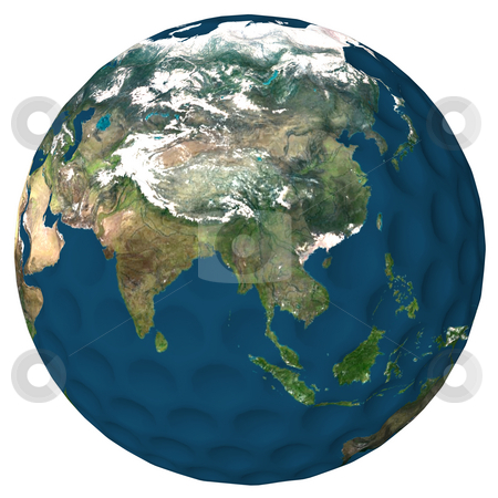 World of Golf Asia and India stock photo, Golf ball with a high resolution earth texture applied. Asia, Malaysia and Indian Ocean showing. by Dave Navarro