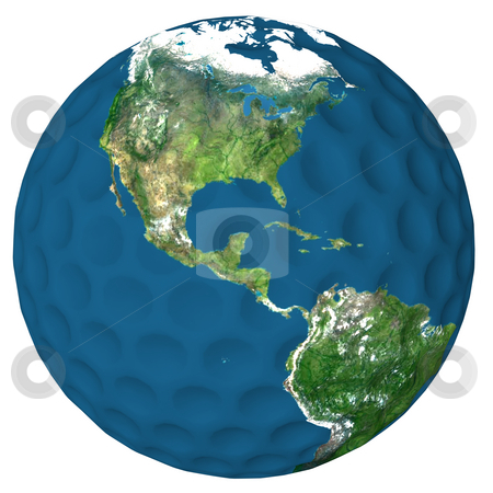 World of Golf Nothern hemisphere stock photo, Golf ball with a high resolution earth texture applied. United States, Mexico, Canada, and Central America showing. by Dave Navarro