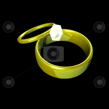 Wedding Bands stock photo, Two wedding bands of gold.  The ladies ring includes a diamond solitaire.  Rendered on a pure black background for easy isolation. by Dave Navarro