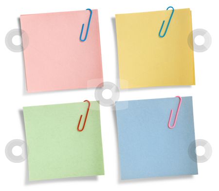 Assorted note papers isolated  stock photo, Assorted note papers isolated on white background, clipping path. by Pablo Caridad