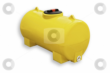 Yellow plastic tank isolated stock photo, Yellow plastic tank isolated on white background, with clipping path. by Pablo Caridad