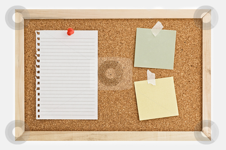 Cork Pin Board  with a sheet of paper. stock photo, Cork Pin Board  with a sheet of paper, post it notes, and thumbtacks. by Pablo Caridad