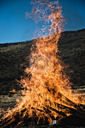 Great flame in the night. stock photo, Great flame in the night, outdoors shot. by Pablo Caridad