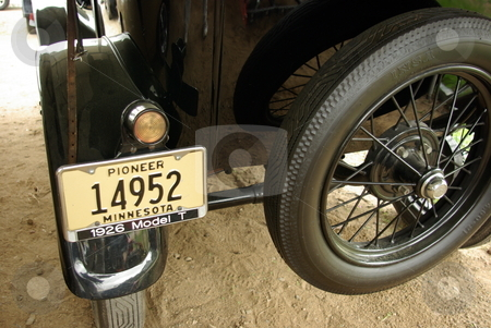 Model T Ford  stock photo, Rear view of a restored 1926 Model T Ford with spare tire attached. by Dennis Thomsen