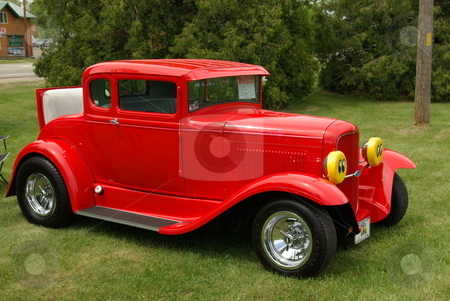 Red 1930 Ford  Coupe stock photo, This bright red duece coupe, a 1930 modified Ford