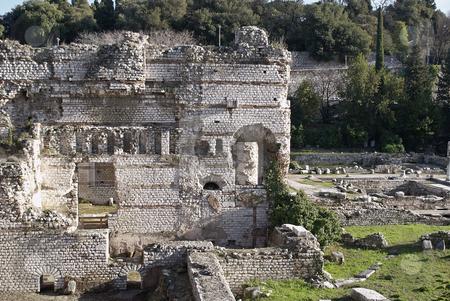 Roman Bath stock photo, Roman bath ruin in French Riviera. City of Nice (Cimiez- Cemenelum). by Serge VILLA
