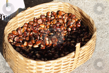 Chestnuts basket stock photo, Basket of chesnut in a Provencal market by Serge VILLA