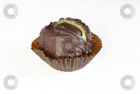 Chocolate sweet stock photo, Chocolate sweet chestnut with heart in praline-flavoured chocolate. by Serge VILLA