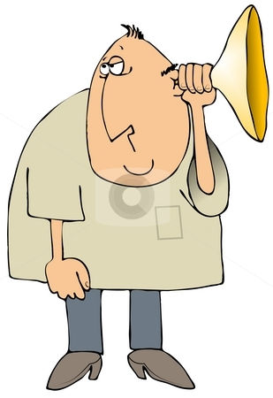 Hearing Aid stock photo, This illustration depicts a man holding a large horn to his ear. by Dennis Cox