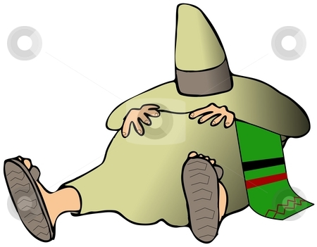 Siesta stock photo, This illustration depicts a man taking a siesta with his sombrero pulled over his head. by Dennis Cox