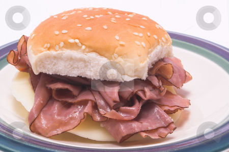 Roast Beef Sandwich stock photo, A delicious roast beef sandwich on a sesame seed bun. by Robert Byron